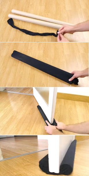 make draft excluders for doors to keep rooms warm in the winter