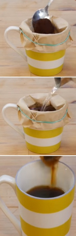 make a cup of coffee with a filter paper hack
