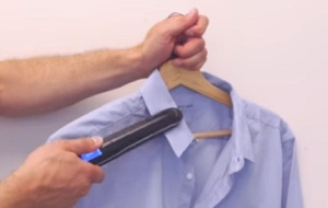 use hair straightener to iron your shirt hack