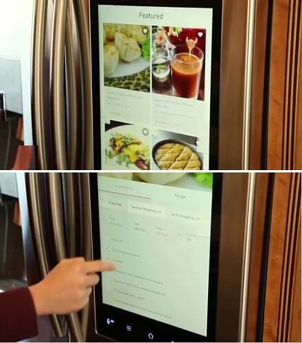 Fridge with apps that help with cooking and shopping ingredients