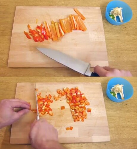 fastest way to clean and cut pepper in restaurant