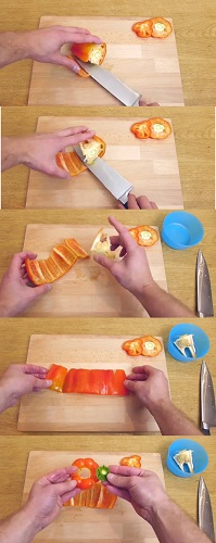 fastest way to clean and cut pepper